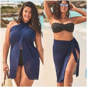 New Plus Size Blue Sarong Swim Cover